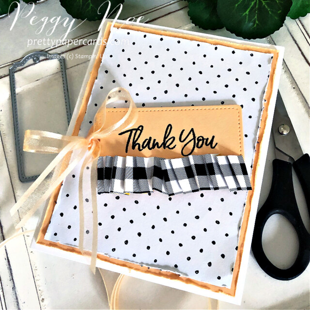 Handmade Thank You Card made with the Tailored Tags Dies from Stampin' Up! created by Peggy Noe of Pretty Paper Cards #tailoredtags #tailoredtagsdies #stampinup #stampingup #peggynoe #prettypapercards #sweeticecream #sweeticecreamstampset #thankyou #thankyoucard