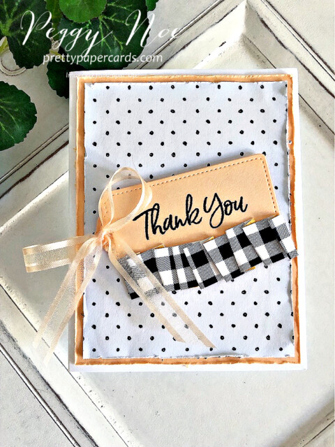 Handmade Thank You Card made with the Tailored Tags Dies from Stampin' Up! created by Peggy Noe of Pretty Paper Cards #tailoredtags #tailoredtagsdies #stampinup #stampingup #peggynoe #prettypapercards #sweeticecream #sweeticecreamstampset #thankyou #thankyoucard #patternparty #paperribbon