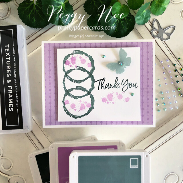 Handmade thank you card made with the Textures & Frames stamp set by Stampin' Up! created by Peggy Noe of Pretty Paper Cards #textures&frames #thankyou #thankyoucard #thankyounote #peggynoe #prettypapercards #stampinup #stampingup #Meadowdies #nature'sblessings