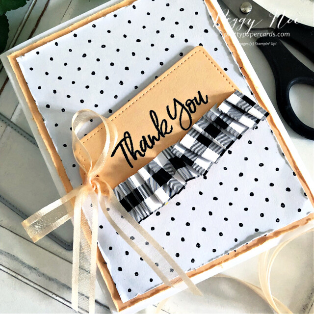 Handmade Thank You Card made with the Tailored Tags Dies from Stampin' Up! created by Peggy Noe of Pretty Paper Cards #tailoredtags #tailoredtagsdies #stampinup #stampingup #peggynoe #prettypapercards #sweeticecream #sweeticecreamstampset #thankyou #thankyoucard #patternparty