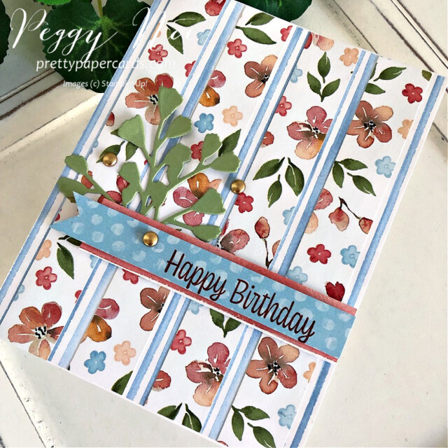 Handmade Striped Birthday Card Stampin' Up! Peggy Noe Pretty Paper Cards #you'reapeach #you'reapeachdsp #stampin'up #stampingup #peggynoe #prettypapercards #sweetasapeachstampset