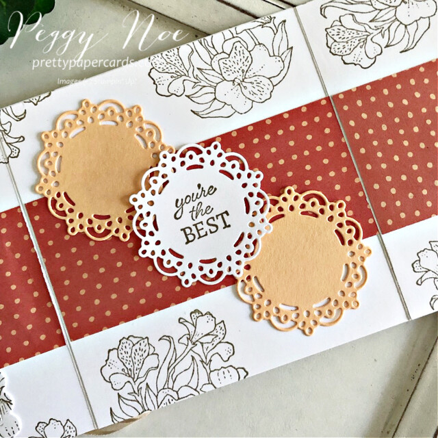 Handmade all-occasion card made with the Encircled in Friendship Bundle by Stampin' Up! created by Peggy Noe of prettypapercards.com #encircledinfriendship #encircledinfriendshipbundle #encircledinfriendshipstampset #encircledinbeautydies #stampinup #stampingup #peggynoe #prettypapercards #prettypapercards.com #circledoily #encircledinfriendship #foldoutcard #stampinblends #palepapaya
