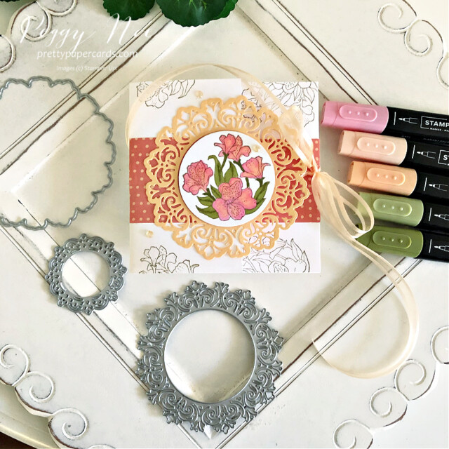 Handmade all-occasion card made with the Encircled in Friendship Bundle by Stampin' Up! created by Peggy Noe of prettypapercards.com #encircledinfriendship #encircledinfriendshipbundle #encircledinfriendshipstampset #encircledinbeautydies #stampinup #stampingup #peggynoe #prettypapercards #prettypapercards.com #circledoily #encircledinfriendship #foldoutcard #stampinblends