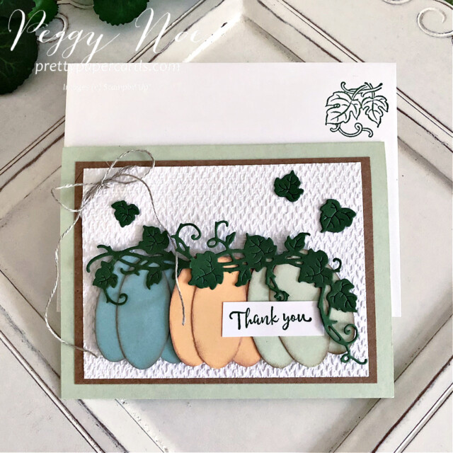 Handmade Thank You Pumpkin Card made with the Forever Grapevine Bundle by Stampin' Up! created by Peggy Noe of Pretty Paper Cards #peggynoe #prettypapercards #forevergrapevine #doubleovalpunch #thankyoucard #pumpkins #paperpumpkins #pumpkincard #ovalpunch #linenthread #pastelpumpkins