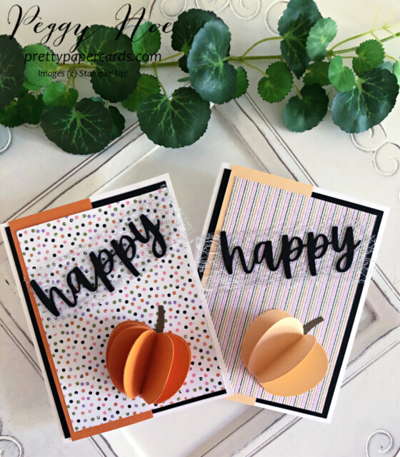 Handmade 3D Pumpkins made with the Apple Builder Punch by Stampin' Up! created by Peggy Noe of prettypapercards.com #applebuilderpunch #3dpumpkins #stampinup #stampingup #peggynoe #prettypapercards #pumpkincards