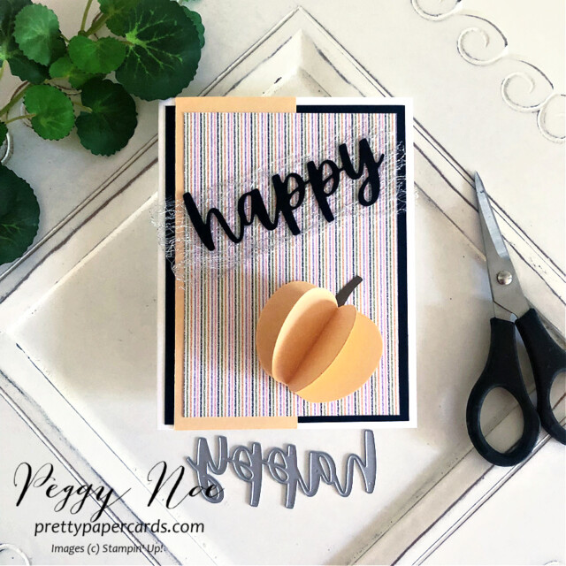 Handmade 3D Pumpkins made with the Apple Builder Punch by Stampin' Up! created by Peggy Noe of prettypapercards.com #applebuilderpunch #3dpumpkins #stampinup #stampingup #peggynoe #prettypapercards #pumpkincards #christmascheerdies