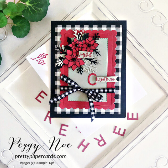 Handmade Christmas Card made with the Words of Cheer Bundle by Stampin' Up! created by Peggy Noe of Pretty Paper Cards #stampinup #stampingup #peggynoe #prettypapercards #wordsofcheer #christmascheerdies #christmascard