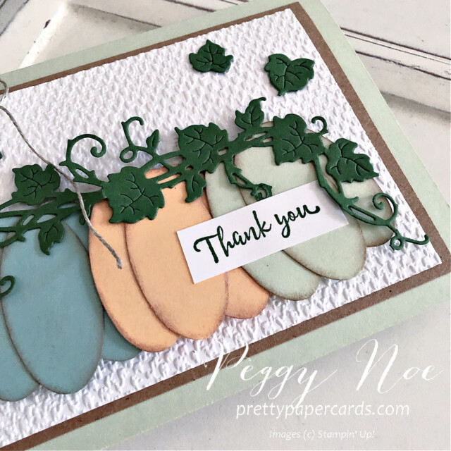 Handmade Thank You Pumpkin Card made with the Forever Grapevine Bundle by Stampin' Up! created by Peggy Noe of Pretty Paper Cards #peggynoe #prettypapercards #forevergrapevine #doubleovalpunch #thankyoucard #pumpkins #paperpumpkins #pumpkincard #ovalpunch #linenthread
