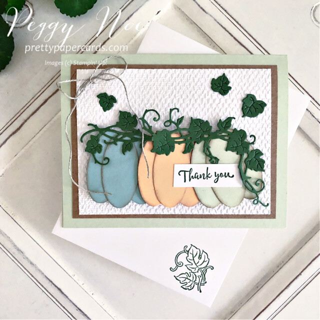 Handmade Thank You Pumpkin Card made with the Forever Grapevine Bundle by Stampin' Up! created by Peggy Noe of  Pretty Paper Cards #peggynoe #prettypapercards #forevergrapevine #doubleovalpunch #thankyoucard #pumpkins #paperpumpkins #pumpkincard