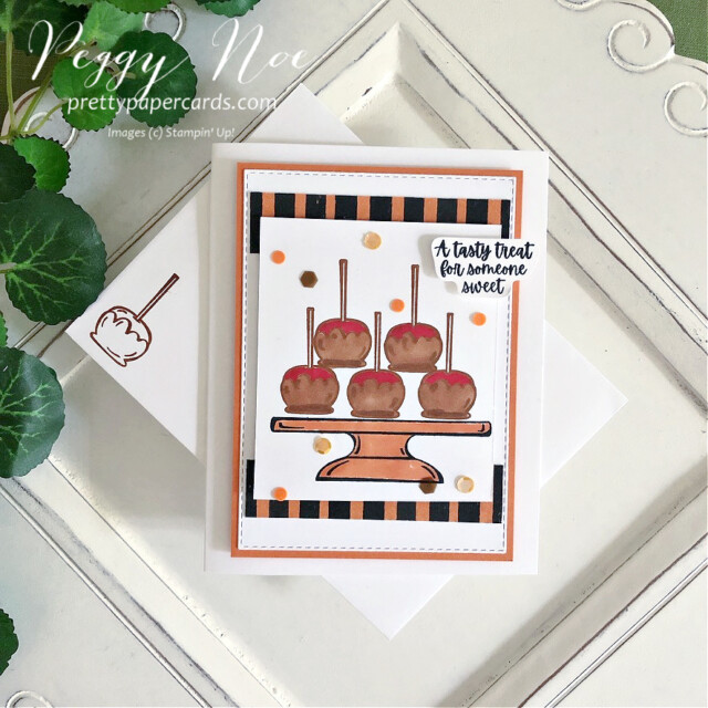 Sweets & Treats Card Stampin' Up! Pretty Paper Cards #sweets&treatsstampset #sweets&treats #candyapplecard #fallcard #carmelapplecard #stampinup #stampimgup #peggynoe #prettypapercards