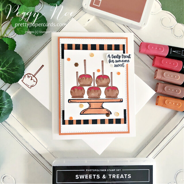 Sweets & Treats Card Stampin' Up! Pretty Paper Cards #sweets&treatsstampset #sweets&treats #candyapplecard #fallcard #carmelapplecard #stampinup #stampimgup #peggynoe #prettypapercards #stampinblends