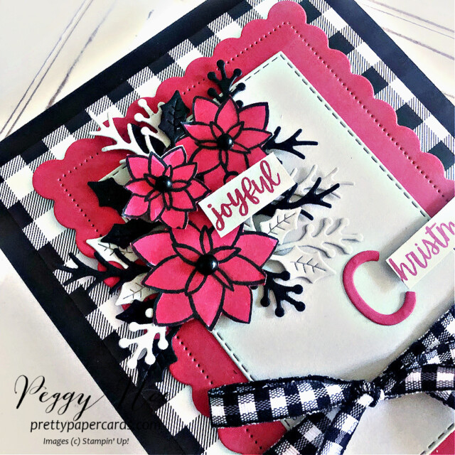 Handmade Christmas Card made with the Words of Cheer Bundle by Stampin' Up! created by Peggy Noe of Pretty Paper Cards #stampinup #stampingup #peggynoe #prettypapercards #wordsofcheer #christmascheerdies #christmascard #joyfulchristmas